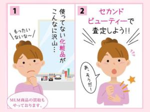 セカンドビューティーの化粧品買取の説明 4コマ漫画